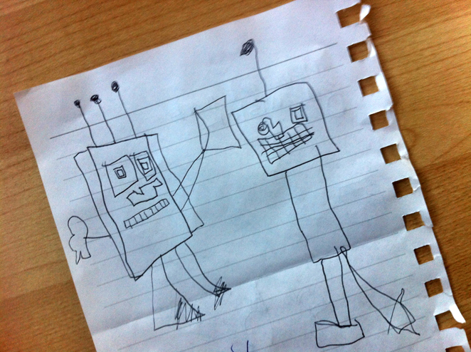 My little son's robot drawing